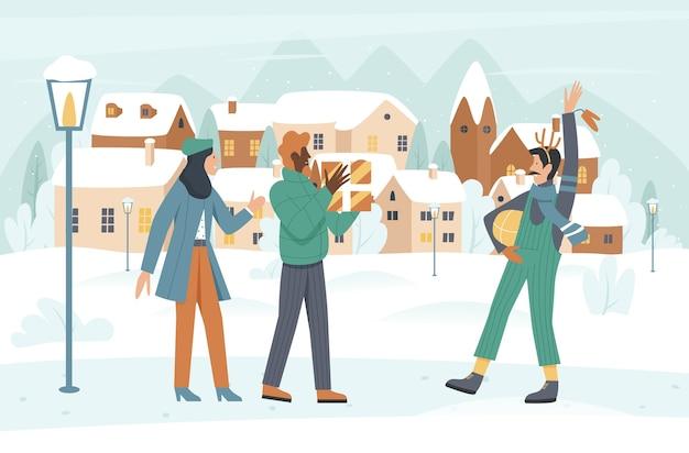 Ludzie spotykają się na świątecznej zimowej ilustracji ulicy miasta.