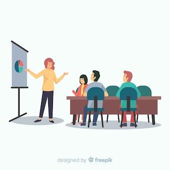 Ludzie spotykają się w biurze tło