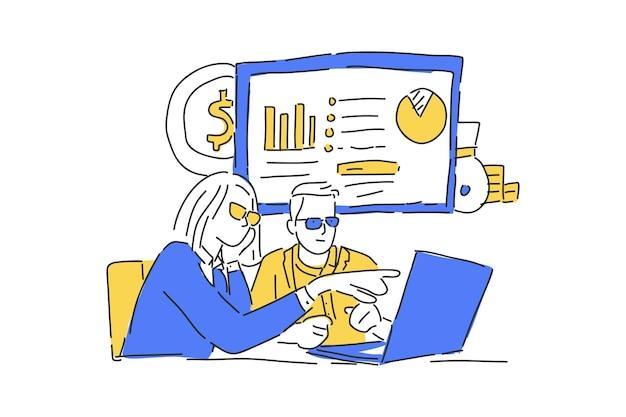 Ludzie spotykający się na temat rysowania ręcznego ilustracji biznesowych