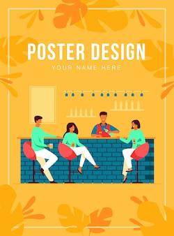 Ludzie spotykający się w barze restauracji na kolację na białym tle ilustracja płaski. kreskówka mężczyźni i kobiety piją wino lub piwo w pubie. koncepcja partii i weekendu