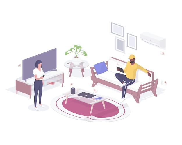 Ludzie sprawdzają izometryczne możliwości inteligentnego domu. męska postać z tabletem testująca klimatyzator i telewizor. kobieta ze smartfonem kalibruje realistyczny dźwięk bezprzewodowy głośnik.