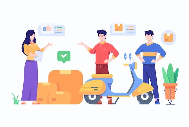 Ludzie sprawdzają koncepcję informacji o usłudze dostarczania paczek