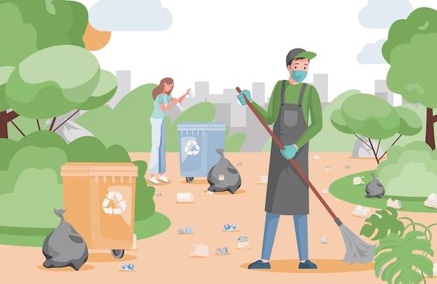 Ludzie sprzątają park