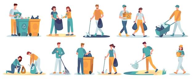 Ludzie sprzątają śmieci. wolontariusze zbierają śmieci. postacie sprzątające śmieci w środowisku. zestaw wektorów zbieraczy odpadów. ludzie zbierają śmieci i śmieci, czyszcząc ilustrację środowiskową