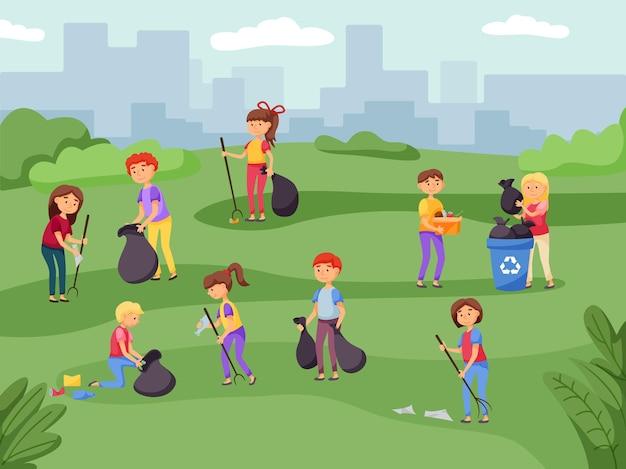 Ludzie sprzątający miejski park, wkładający śmieci do worków. wolontariuszka strefa oczyszczania postaci, zbieranie i sortowanie śmieci w kontenerze do recyklingu w celu ochrony klimatu i przyrody