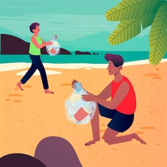 Ludzie sprzątający plażę w płaskiej konstrukcji