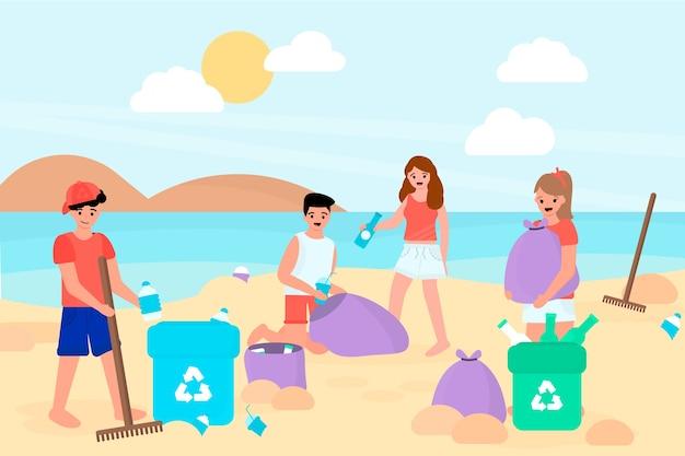 Ludzie sprzątający plażę