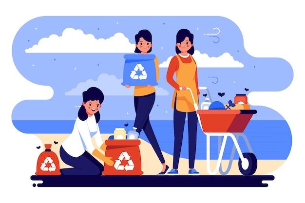 Ludzie sprzątający śmieci