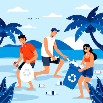 Ludzie, sprzątanie koncepcji plaży