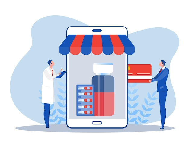 Ludzie sprzedają koncepcję płaskiej konstrukcji apteki internetowej szczepionki. ilustracja wektorowa