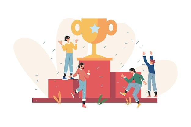 Ludzie stają na podium i świętują nagrodę dla zdobywcy najlepszego wyniku
