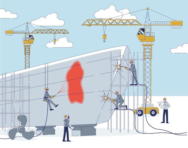 Ludzie stoczni robią stocznie zespół pracowników naprawia duży statek