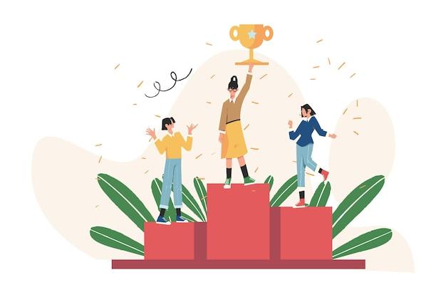 Ludzie stoją na podium pierwsze, drugie i trzecie miejsce. nagroda dla zwycięzcy za najlepszy wynik
