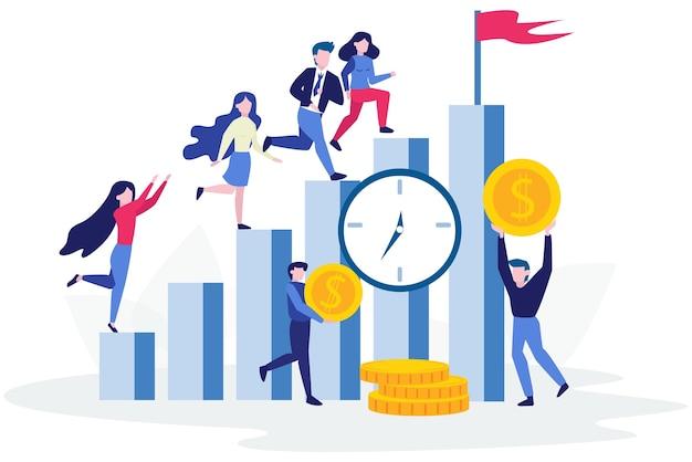 Ludzie stoją na wykresie słupkowym wzrostu. idea osiągnięcia i postępu. droga do sukcesu. wzrost finansowy. ilustracja