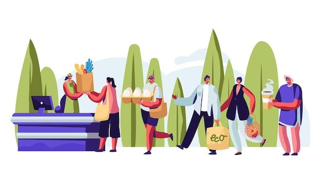 Ludzie stoją w kolejce z opakowaniami wielokrotnego użytku w dłoniach odwiedzając sklep na wolnym powietrzu. płaskie ilustracja kreskówka