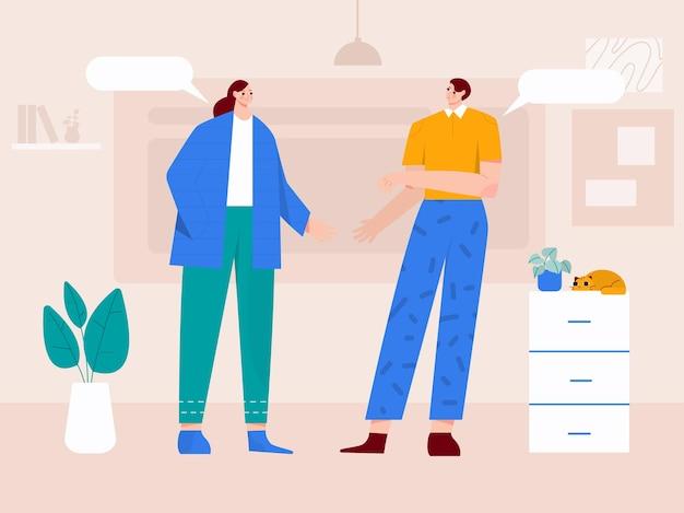 Ludzie stojący i rozmawiający ze sobą ilustracji