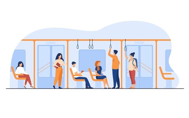 Ludzie stojący i siedzący w autobusie lub pociągu metra na białym tle ilustracji wektorowych płaski. mężczyźni i kobiety korzystający z metra.