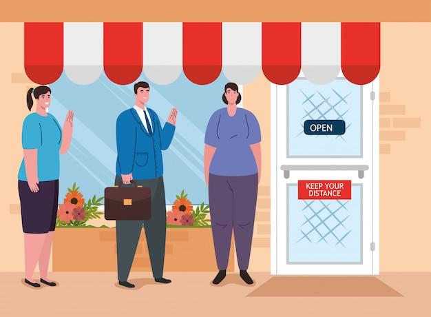 Ludzie stojący w kolejce do sklepu, dystans społeczny, środek zapobiegawczy, kroki w celu ochrony siebie, zachowanie dystansu, zapobieganie koronawirusowi covid-19