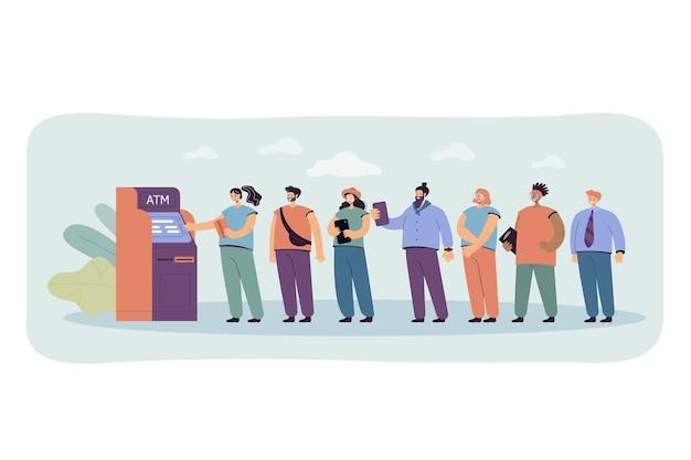 Ludzie stojący w kolejce płaska ilustracja