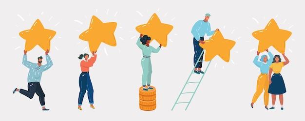 Ludzie stojący ze złotymi gwiazdami