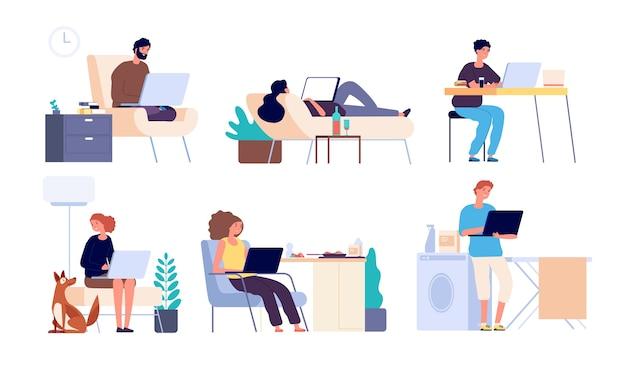 Ludzie surfują po internecie. mężczyzna i kobieta online z gadżetem, laptopem. faceci spędzają czas na zakupach w internecie i na czacie wektor płaski zestaw