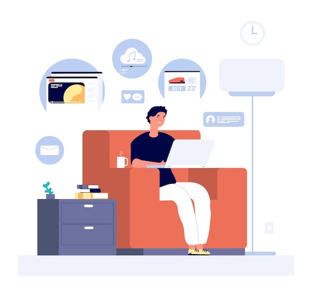 Ludzie surfują po internecie. mężczyzna z laptopem odwiedza sklepy internetowe, media społecznościowe i strony z filmami. koncepcja płaskiego stylu życia online. surfowanie w mediach społecznościowych online, ilustracja komunikacji sieciowej