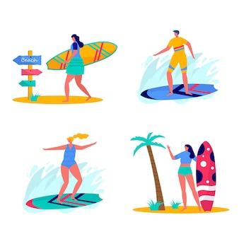 Ludzie surfujący w strojach plażowych z deskami surfingowymi. młodych kobiet i mężczyzn korzystających z wakacji nad morzem, oceanem. koncepcja sportów letnich i rekreacji na świeżym powietrzu na białym tle. płaski wektor