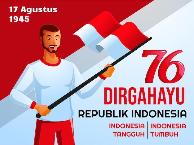 Ludzie świętują dzień niepodległości indonezji dirgahayu hari kemerdekaan indonezja