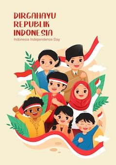 Ludzie świętują dzień niepodległości indonezji hari kemerdekaan indonezja