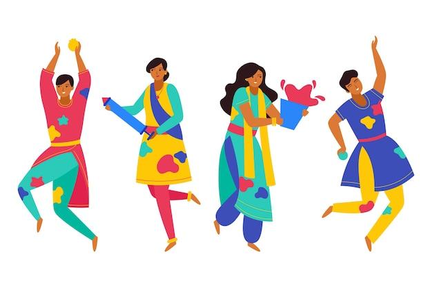 Ludzie świętują holi festiwal i taniec na białym tle postać