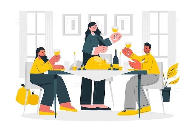 Ludzie świętują ilustracja koncepcja dziękczynienia