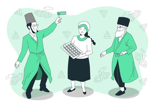 Ludzie świętują ilustracja koncepcja purim day