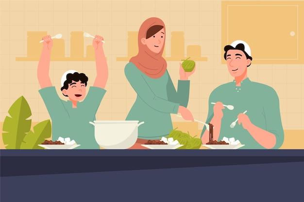 Ludzie świętują ilustrację id al-adha