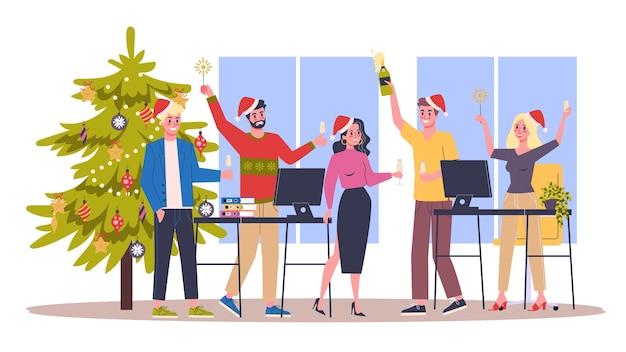 Ludzie świętują nowy rok i boże narodzenie w biurze. impreza biznesowa, postać w czapce świętego mikołaja. ilustracja w stylu kreskówki