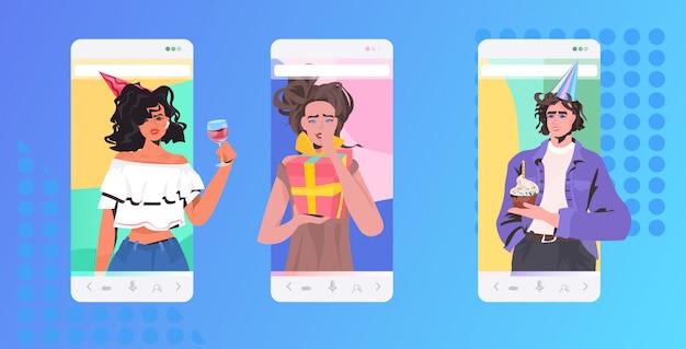 Ludzie świętują online przyjaciół imprezowiczów, którzy mają koncepcję wirtualnej zabawy. ilustracja portretowa pozioma aplikacja mobilna na ekranie smartfona