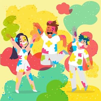 Ludzie świętują razem festiwal holi