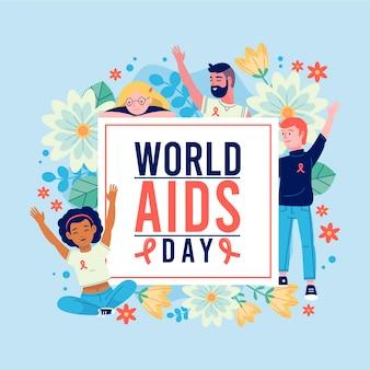 Ludzie świętują światowy dzień aids