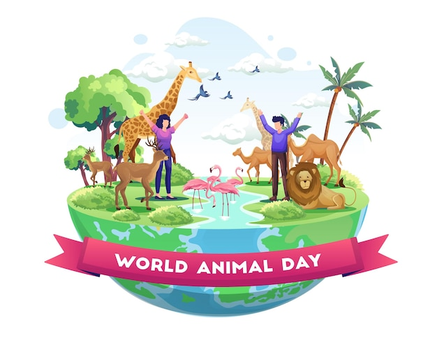 Ludzie świętują światowy dzień zwierząt zwierzęta na planecie dzień dzikiej przyrody ze zwierzętami ilustracja