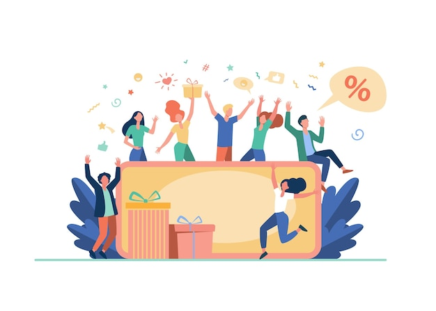 Ludzie świętują z bonu upominkowego na białym tle ilustracji wektorowych płaski. cartoon szczęśliwych klientów wygrywających abstrakcyjną nagrodę, certyfikat lub kupon rabatowy. kreatywny obóz strategii i pieniądze