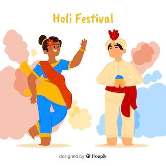 Ludzie świętujący festiwal holi
