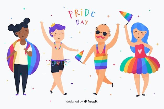 Ludzie świętujący kolekcję dni dumy