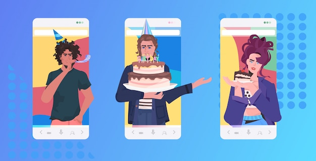 Ludzie świętujący online party mix przyjaciele wyścigi mający koncepcję wirtualnej zabawy. ilustracja portretowa pozioma aplikacja mobilna na ekranie smartfona