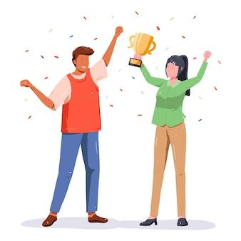 Ludzie świętujący osiągnięcie celu i trzymający trofeum