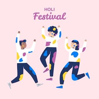Ludzie świętuje holi festiwal na różowym tle