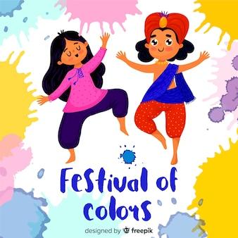 Ludzie świętuje holi festiwalu tło