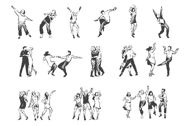 Ludzie tańczą do szkicu muzycznego. klub nocny, impreza plenerowa, impreza plenerowa, walc mężczyzn i kobiet, zestaw do wspólnej zabawy i tańca z przyjaciółmi i parami. ręcznie rysowane na białym tle wektor