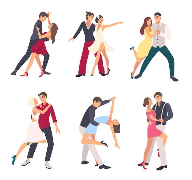 Ludzie tańczą salsę. pary, mężczyzna i kobieta w tańcu, w różnych pozycjach. zestaw kolorowych ilustracji płaski.
