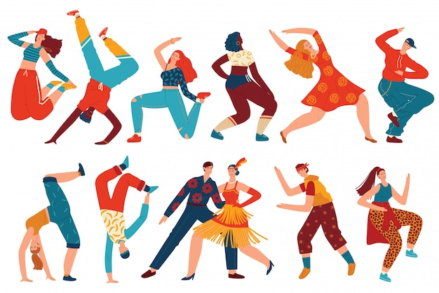 Ludzie tańczą wektor zestaw ilustracji.