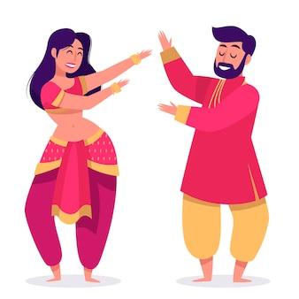 Ludzie tańczący bollywood ilustrowani