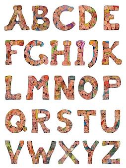 Ludzie tłoczą czcionkę alfabetu. pojedyncze litery